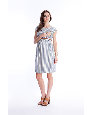 Seraphine Presley, Maternity and Nursing Dress, Light Blue/White Stripes - 100% cotton Dresses