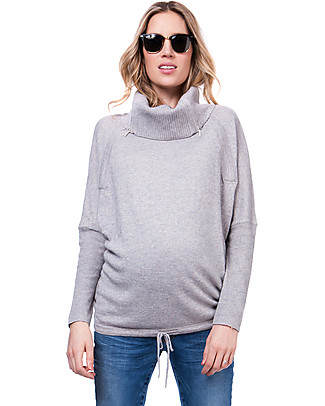 Seraphine Roll Neck Eda Maternity and Nursing Sweater - Grey Jumpers