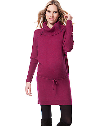 Seraphine Roll Neck Maternity and Nursing Tunic Hudson, Berry - Cashmere blend Dresses