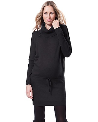 Seraphine Roll Neck Maternity and Nursing Tunic Hudson, Charcoal - Cashmere blend Dresses