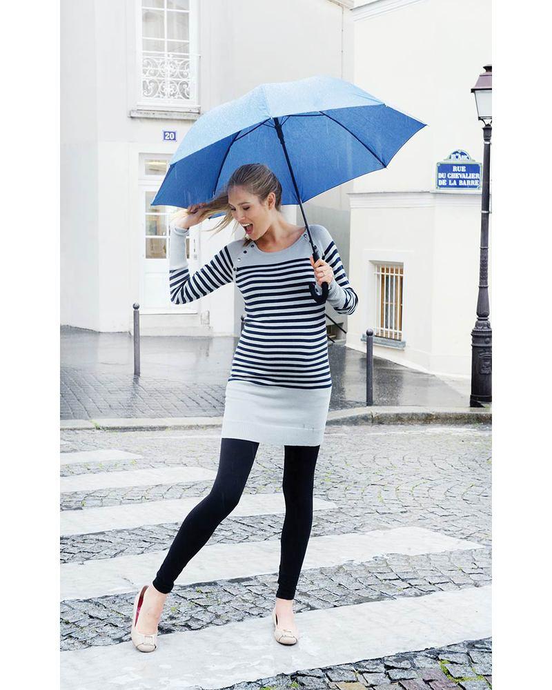 403d2bec7fc61 Seraphine Rozalia - Nautical Knitted Maternity & Nursing Tunic - Black  Stripes Dresses