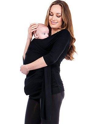 Seraphine Skin To Skin Babywear Winifrid Top with ¾ sleeves, Black Evening Tops