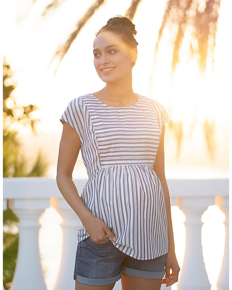 2b11dd6accec0 Seraphine Solene Panelled Maternity & Nursing Top, Blue stripes - 100%  Cotton Evening Tops
