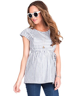 Seraphine Solene Panelled Maternity & Nursing Top, Blue stripes - 100% Cotton Evening Tops