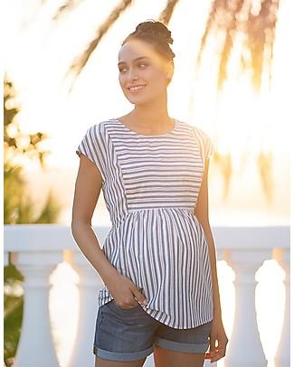 Seraphine Solene Panelled Maternity & Nursing Top, Blue stripes - 100% Cotton Evening Tops