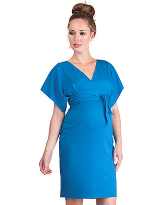 Seraphine Sylvana Maternity Dress with Knotted Front & Short Sleeves - Light Blue Dresses