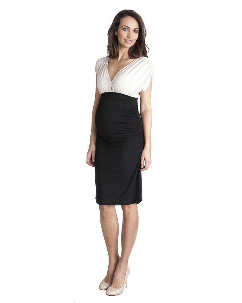 Seraphine Two Tone Dahlia Maternity Cocktail Dress - Body-Con Fit! woman