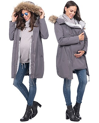 Seraphine Valetta Maternity + Baby Carrying Premium Parka 3 in 1, Slate - Before and after baby! Jackets