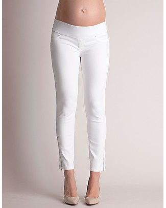 Seraphine Zoey: Stretch Cropped Underbump Jeans - White Trousers