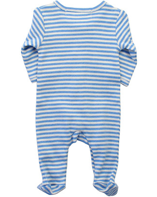 Serendipity Organics Pre Striped Suit Blue/Ecru - 100% Organic Babygrows