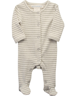 Serendipity Organics Pre Striped Suit Khaki/Ecru - 100% Organic Babygrows