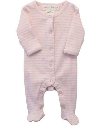 Serendipity Organics Pre Striped Suit Pink/Ecru - 100% Organic Babygrows