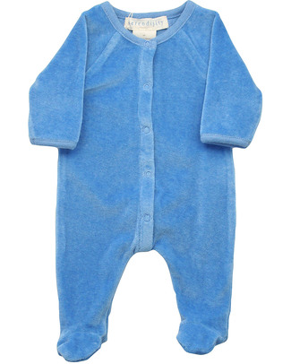 Serendipity Organics Pre Velour Suit Blue - 100% Organic Velour Babygrows