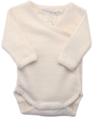 Serendipity Organics Pre Wrap Body Pointelle Knit  Ecru - 100% Organic Long Sleeves Bodies
