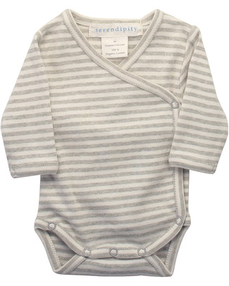 Serendipity Organics Pre Wrap Body Striped Khaki/Ecru - 100% Organic Long Sleeves Bodies