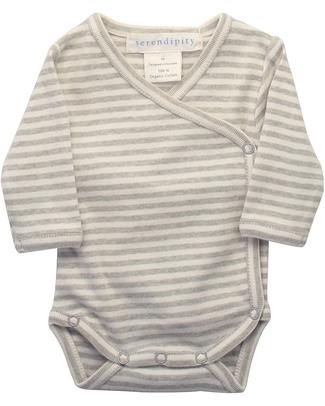 Serendipity Organics Pre Wrap Body Striped Khaki/Ecru - 100% Organic Long Sleeves Bodies