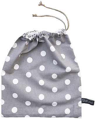Shifumi Drawstring Bag for Nursery - Grey with Dots - 100% Cotton (Perfect for home and school!) Pullover Bibs