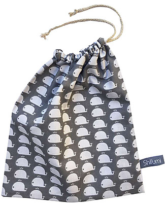 Shifumi Drawstring Bag for Nursery - Grey with Whales Print - 100% Cotton Snap Bibs