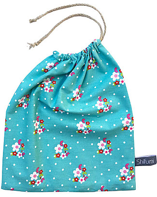 Shifumi Drawstring Bag for Nursery - Turkoise with Flowers print - 100% Cotton (Perfect for home and school!) Snap Bibs