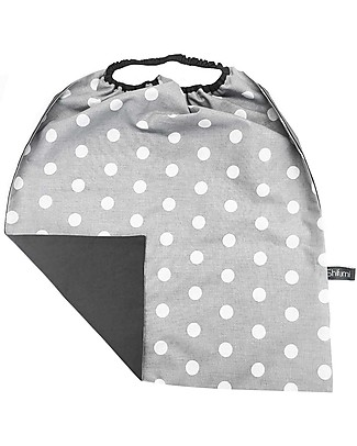 Shifumi Easy Wear Bib LARGE with Elastic Neck Opening - Grey with White Dots (40x44 cm) - 100% Cotton (Perfect for home and school!) Snap Bibs