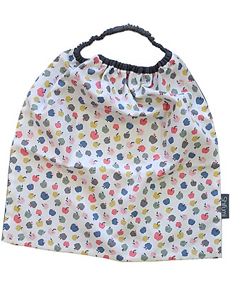 Shifumi Easy Wear Bib with Elastic Neck Opening - Apples Print and Light Blue 100% Cotton (perfect for home and school!) Snap Bibs
