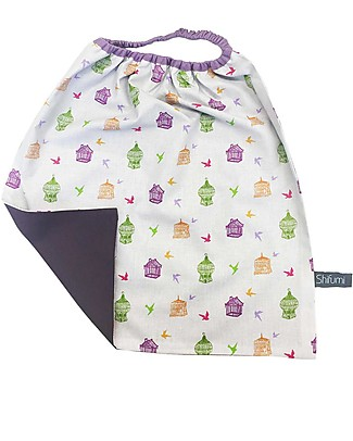 Shifumi Easy Wear Bib with Elastic Neck Opening - Bird Cages - 100% Cotton (Perfect for home and school!) Pullover Bibs