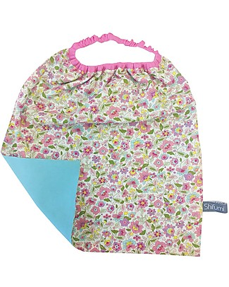 Shifumi Easy Wear Bib with Elastic Neck Opening - Flowers Print and Light Blue 100% Cotton (perfect for home and school!) null