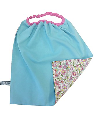 Shifumi Easy Wear Bib with Elastic Neck Opening - Flowers Print and Light Blue 100% Cotton (perfect for home and school!) Pullover Bibs