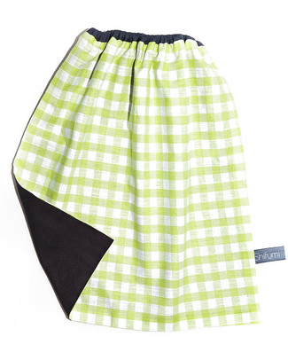 Shifumi Easy Wear Bib with Elastic Neck Opening - Green Gingham 100% Cotton (perfect for home and school!) Pullover Bibs