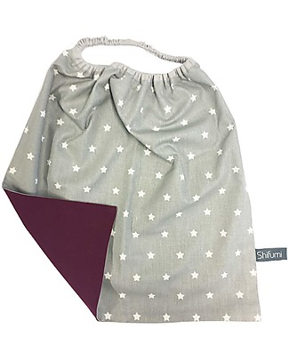 Shifumi Easy Wear Bib with Elastic Neck Opening - Grey with Stars and Purple - 100% Cotton (Perfect for home and school!) Pullover Bibs