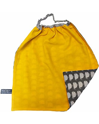 Shifumi Easy Wear Bib with Elastic Neck Opening - Grey with Whales Print and Yellow - 100% Cotton (Perfect for home and school!) Snap Bibs