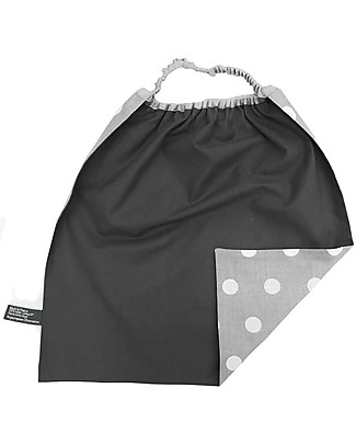 Shifumi Easy Wear Bib with Elastic Neck Opening - Grey with White Dots - 100% Cotton (Perfect for home and school!) Pullover Bibs