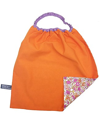 Shifumi Easy Wear Bib with Elastic Neck Opening - Orange with Flowers 100% Cotton (Perfect for home and school!) Pullover Bibs