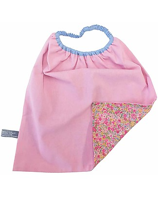 Shifumi Easy Wear Bib with Elastic Neck Opening - Pink Flowers Print 100% Cotton (perfect for home and school!) Pullover Bibs