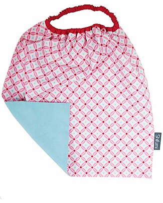 Shifumi Easy Wear Bib with Elastic Neck Opening - Pink Gometric Print and Light Blue 100% Cotton (perfect for home and school!) Snap Bibs