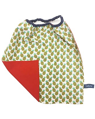 Shifumi Easy Wear Bib with Elastic Neck Opening - Red with Pineapple - 100% Cotton (Perfect for home and school!) Snap Bibs