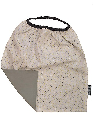Shifumi Easy Wear Bib with Elastic Neck Opening - Star Print and Grey - 100% Cotton (perfect for home and school!) Pullover Bibs