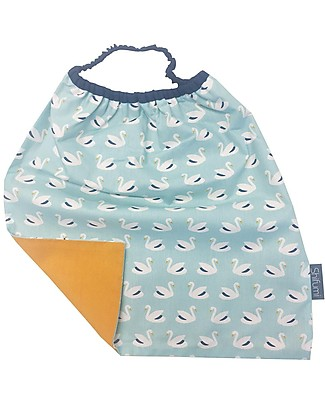 Shifumi Easy Wear Bib with Elastic Neck Opening - Swan Print and Light Blue 100% Cotton (perfect for home and school!) Snap Bibs
