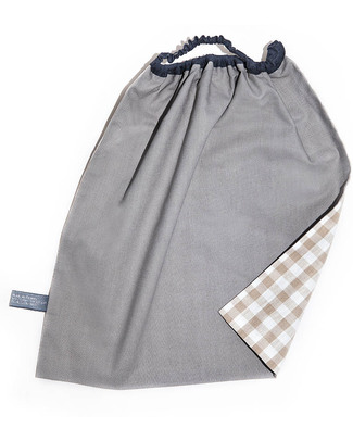 Shifumi Easy Wear Bib with Elastic Neck Opening - Taupe Gingham 100% Cotton (perfect for home and school!) Pullover Bibs