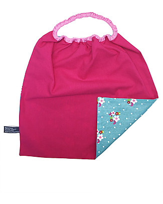 Shifumi Easy Wear Bib with Elastic Neck Opening - Turkoise and Pink Flower 100% Cotton (Perfect for home and school!) Pullover Bibs
