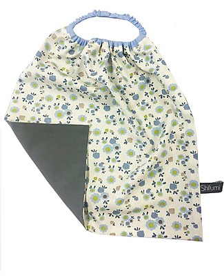 Shifumi Easy Wear Bib with Elastic Neck Opening - White with Lilla Flowers - 100% Cotton (Perfect for home and school!) Pullover Bibs