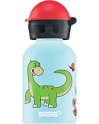 SIGG Dino Family Drinking Bottle with Sports Cap 0.3 L - Light, safe and leak-proof Metal Bottles