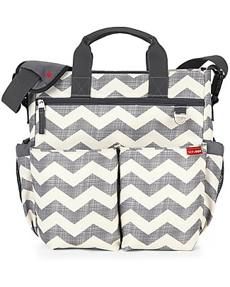 Skip Hop Duo Signature Diaper Bag, Grey Chevron – Changing mattress included! Diaper Changing Bags & Accessories