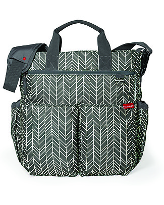 Skip Hop Duo Signature Diaper Bag, Grey Herringbone - Changing mattress included! Diaper Changing Bags & Accessories