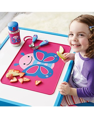 Skip Hop Fold & Go Zoo Silicone Placemat, Butterfly - 42 x 30.5 cm, free from PVC, BPA, lead, latex or phthalates Meal Sets