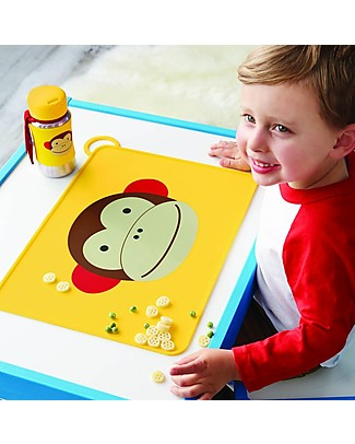 Skip Hop Fold & Go Zoo Silicone Placemat, Monkey - 42 x 30.5 cm, free from PVC, BPA, lead, latex or phthalates Meal Sets