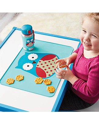 Skip Hop Fold & Go Zoo Silicone Placemat, Owl - 42 x 30.5 cm, free from PVC, BPA, lead, latex or phthalates Meal Sets