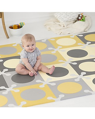 Skip Hop Playspot Interlocking Foam Tiles, Yellow/Grey – 20 large pieces! Playmats