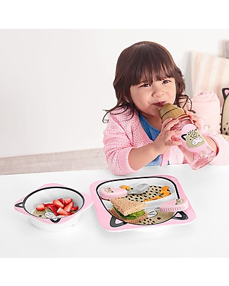 Skip Hop Zoo Little Kid Plate and Bowl Set in Melamine, Leopard - Safe and Durable! Meal Sets
