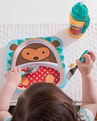 Skip Hop Zoo Little Kid Plate in Melamine, Hedgehog - Divided in two Sections! Bowls & Plates